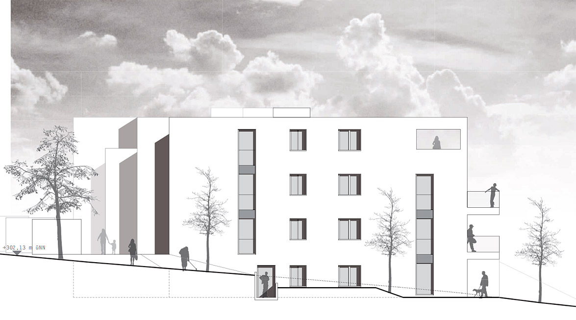 Neubau einer Hausgruppe (12 WE) Göttingen - Ansicht Nord