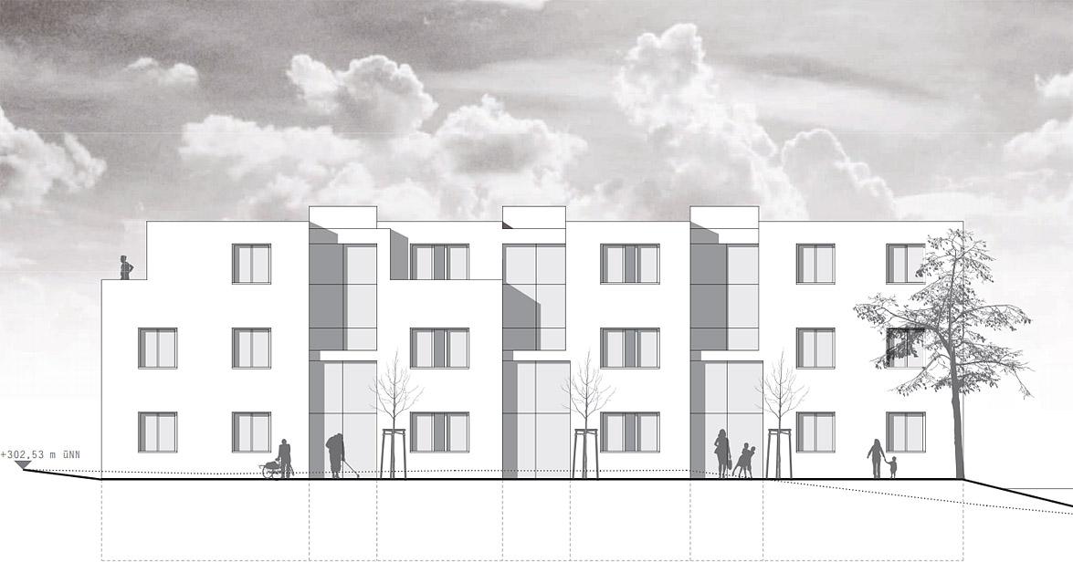 Neubau einer Hausgruppe (12 WE) Göttingen - Ansicht Ost