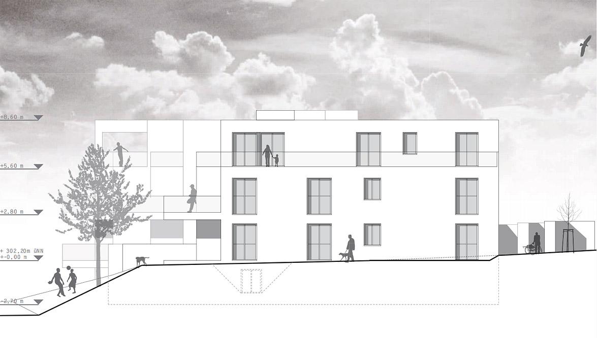 Neubau einer Hausgruppe (12 WE) Göttingen - Ansicht Süd