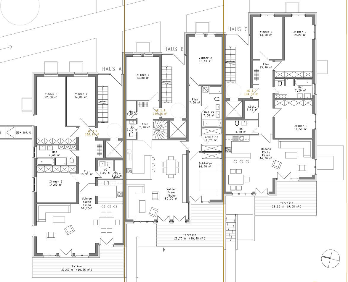 Neubau einer Hausgruppe (12 WE) Göttingen - Grundriss EG
